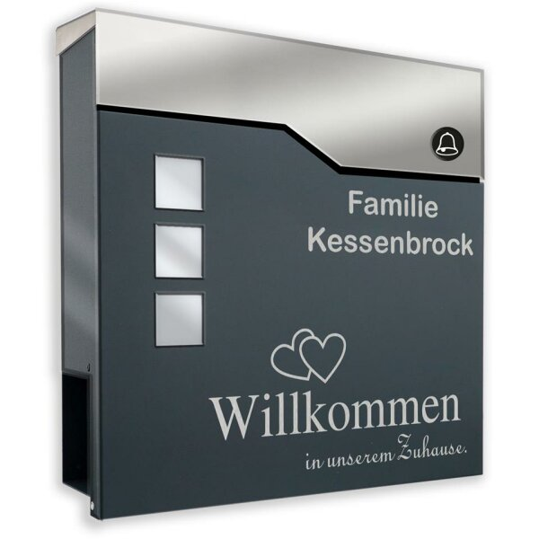 Briefkasten mit FUNKKLINGEL ANTHRAZIT Postkasten Wandbriefkasten William
