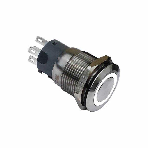 Klingeltaster Drucktaster 19mm Weiss Ringbeleuchtet 5 Pin Lotkontakte