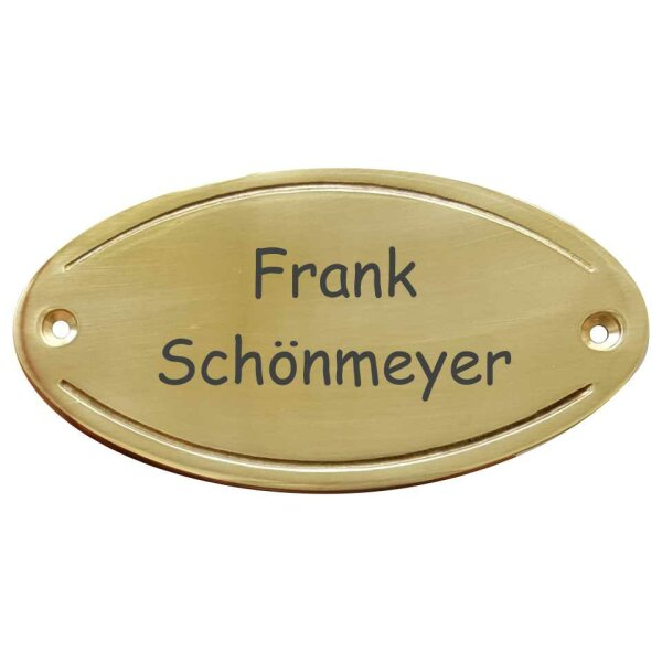 Messingschild Türschild oval mit vertiefter Lisene 105x54mm